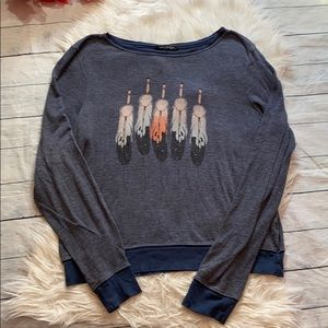 Wildfox Feather Pullover Blue sz L